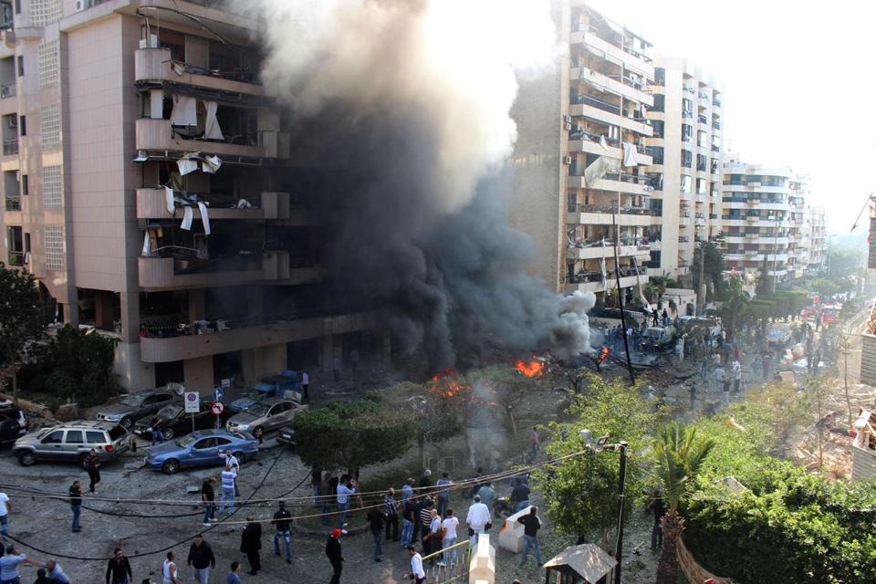 Twin suicide bombers detonated explosions outside the Iranian Embassy in a mainly Shiite district of the Lebanese capital on Tuesday.